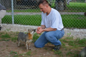 CPT Head Trainer Mark Spivak getting acquainted with a silver fox.