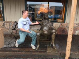 Mark explaining to Ben Franklin that the national bird should be the bald eagle, not the turkey. Jackson, Wyoming.