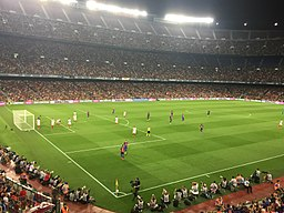 99,354 seat Camp Nou Stadium, constructed in 1957 is the home stadium of FC Barcelona, the largest stadium in Europe, and the second largest soccer stadium in the world. Source: Wikimedia Commons. Attribution: Politges13 (Own work).