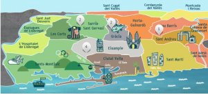 A map of Barcelona's districts. The cost to rent or buy varies greatly depending upon the quality of the neighborhood. Source: shbarcelona.com.