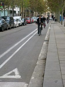 Bicycle lane in Barcelona's El Raval neighborhood. Source: Wikimedia Commona. Attribution: By Alain Rouiller (Barcelona El Raval 082).