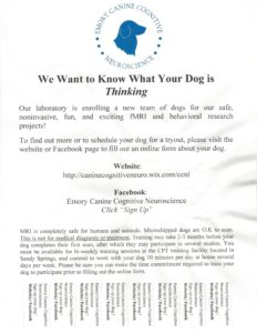 CPT-Emory Neuroscience Tryout Flyer- The Dog Project
