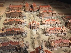 A diorama of Old Barcelona.