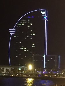 The famous W Hotel at night.