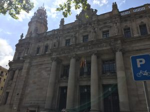In addition to a lot of letters and stamps, the Barcelona Post Office includes elaborate architecture that we rarely see in a US Post Office building.
