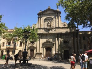 A church and plaza a few blocks from my AirBnB in Barceloneta.