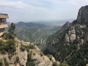 A mountain view from Montserrat. The pristine serenity of Montserrat was a welcome relief from the urban congestion of Barcelona.