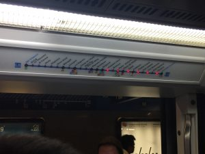Above the doors of each Metro car was a map of the Line's route with lights indicating each stop that remained. Compare that to MARTA where the location of the train remains more of a mystery.