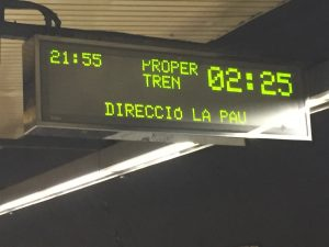 Each Barcelona Metro station has overhead LED signs indicating the time, the train line expected to arrive, and the time to arrival. Most importantly, I never had to wait more than 5 minutes for a Metro train. In contrast, I don't believe I have ever waited less than 5 minutes for a MARTA train.