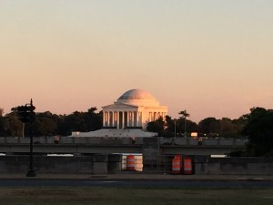 The Jefferson Memorial as seen from the World War II Memorial. Washington DC.