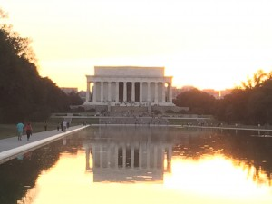 The Lincoln Memorial and Reflecting Pool. The Lincoln Reflecting Pool is the largest reflecting pool in Washington, DC. The photo illustrates well how the pool reflects the image of the Memorial.