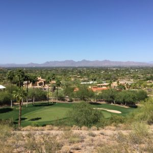Paradise Valley, Arizona- Although most Phoenicians prefer xeriscapes to grass lawns, this Paradise Valley golf course appears healthy and provides stunning mountain views for the golfers.