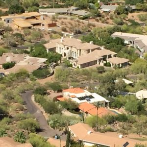 Paradise Valley, Arizona- A view of southern Paradise Valley as seen from Camelback Mountain. Paradise Valley is Phoenix's wealthiest suburb and has an abundance of enormous, elegant homes with a wide variety of Southwestern architecture.