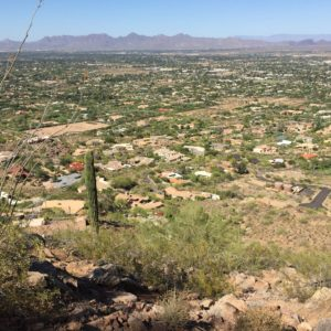 Stockdale, Arizona- A view of eastern Stockdale, southern Paradise Valley, and the McDowell Mountains as seen from Camelback Mountain.