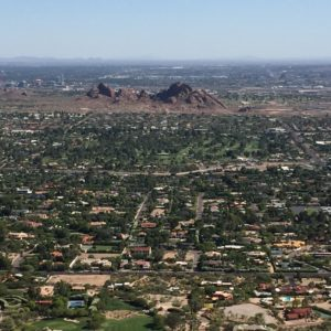 Scottsdale, Arizona- A closeup of the Scottsdale suburbs from near the top of Camelback Mountain.