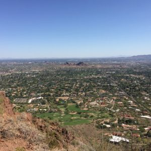 Paradise Valley, Arizona- A view of suburban Phoenix and Tempe from near the top of Camelback Mountain. Camelback Mountain acquired its name due to its distinctive two humps when seen from a distance.