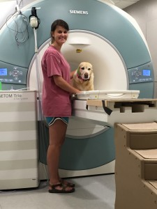 Sami Griffith and Gemini at the Emory University MRI scanner.