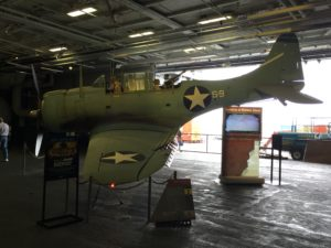 San Diego, CA- A World War 2 prop fighter that fought during the Battle of Midway. The USS Midway was America's longest serving aircraft carrier. Over 200,000 sailors worked on the Midway from 1945 until the ship's retirement in 1992.
