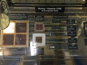 San Diego, CA- The display summarizes advancements in the size and density of memory storage chips used during the ship's lifetime.