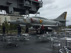 San Diego, CA- A modern fighter jet that is a sharp comparison to the World War 2 fighters on the lower level.
