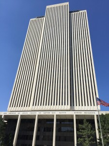The Headquarters building of the Church of Jesus Christ of Latter Day Saints. The sleek modern profile was a sharp contrast to the more ornamental structure of the Salt Lake Temple.