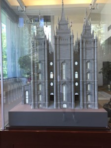 A model of Salt Lake Temple. The South Visitor Center contains this model which duplicates the exterior and interior of the Temple.
