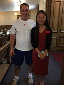 Mark posing with Sister Huang from China. Sister Huang discussed her experience with religious restrictions in China. She told a compelling story of her family having to practice their religion in secret to avoid prosecution. She is presently in Salt Lake City on a 2-year mission. Then, she intends to return to China.