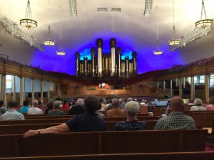 The interior of The Tabernacle during a pipe organ concert.