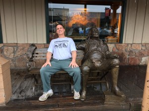 Mark hanging with Ben Franklin in the Town Square- Jackson, Wyoming.