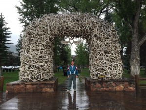 Mark at the famous elk antler sculpture- Jackson, Wyoming.